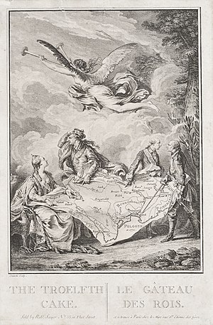 Polish–Lithuanian Commonwealth - The Troelfth Cake, an allegory of the First Partition of Poland. Contemporary drawing by Jean-Michel Moreau le Jeune.