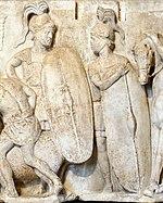Roma lejyoneri gibi giyinmiş iki figürü tasvir eden tek renkli bir kabartma stel