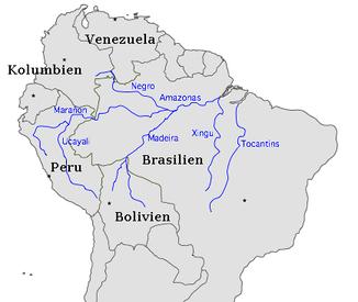 Lage des Amazonas in Südamerika