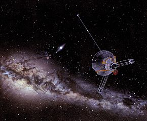 An artist's impression of a Pioneer spacecraft on its way to interstellar space.jpg