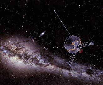Pioneer 11 - Image: An artist's impression of a Pioneer spacecraft on its way to interstellar space