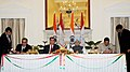 Anand Sharma and the Minister of Industry, Tajikistan, Mr. Gul Sherali signing the MoU between the Ministry of Energy and Industry of Tajikistan and the Ministry of Textiles of India, in the presence of the Prime Minister.jpg