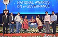 Anandiben Patel giving away the National Awards on e-Governance for the year 2014-15, at the inaugural session of the 18th National Conference on e-Governance, in Gandhinagar, Gujarat on January 30, 2015.jpg