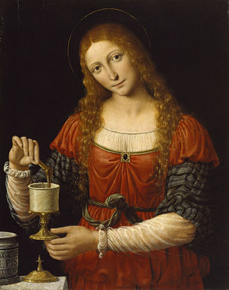 Andrea Solari - Mary Magdalene went to anoint Christ's dead body, only to discover that he was resurrected. She is  shown here transferring the ointment from a maiolica pharmacy jar to a smaller vessel. c. 1524