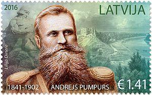 Andrejs Pumpurs - Pumpurs on a 2016 stamp of Latvia