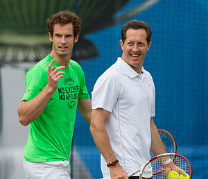 Jonas Björkman - Murray with new coach Jonas Björkman during practice at the 2015 Aegon Championships.