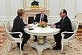 Angela Merkel, Vladimir Putin, François Hollande at the Kremlin (2015-02-06) 01 (cropped).jpg