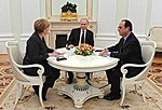 Angela Merkel, Vladimir Putin, François Hollande at the Kremlin (2015-02-06) 01 (cropped).jpg