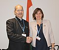 Anil Madhav Dave and the Swedish Minister for International Development Cooperation & Climate and Deputy Prime Minister, Ms. Isabella Lovin, at a bilateral meeting at COP 22, in Marrakech, Morocco.jpg