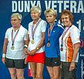 Ankara - BWF World Senior Badminton Championships - WS 70 Medal winners- - GOLD - Renate Gabriel (GER) - SILVER - Rita Gersat (GER) - BRONZ - Marg Hudson (CAN) & Anna-Wiola Renholm (FIN) (11078196406).jpg