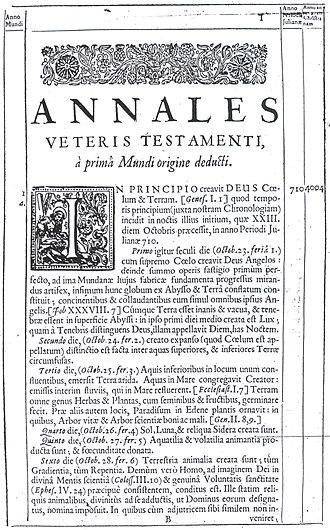 Ussher chronology - Annales Veteris Testamenti page 1 (Latin)