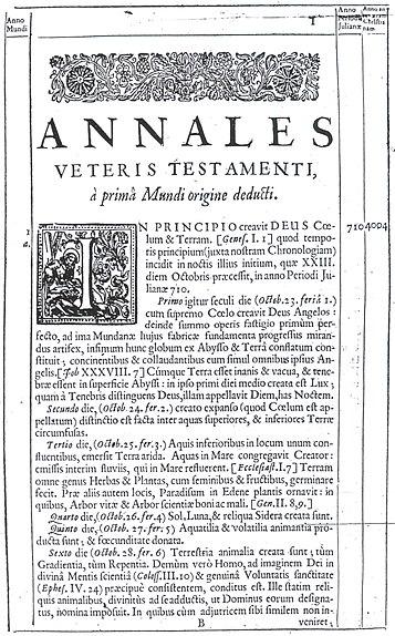 Annales Veteris Testamenti, där James Ussher beräknar jordens födelse till 4004 f. Kr.