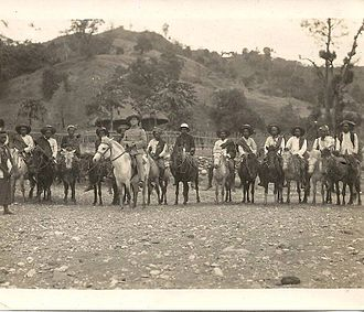 Portuguese Timor - Portuguese commander with local troops in the 1930s