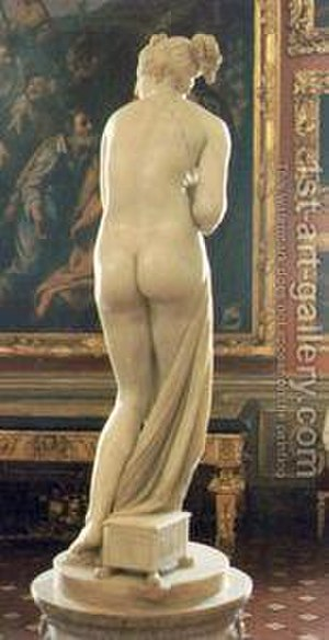 "The Valpinçon Bather - Venus Italica (1812) by Antonio Canova. Ingres's painting may be influenced by it and, directly or indirectly, its predecessor, the ""Medici Venus."""