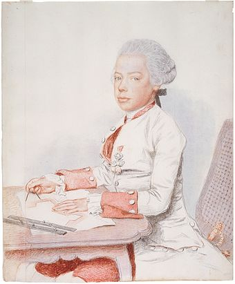 Young Leopold drawing fortifications, Jean-Etienne Liotard, 1762 Archduke Peter Leopold, later Leopold II, 1762 by Liotard.jpg