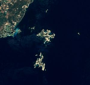 Lavezzi archipelago - Lavezzi archipelago, satellite view