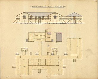 """Cairns Hospital - Architectural drawing for the """"new"""" hospital, 1884"""