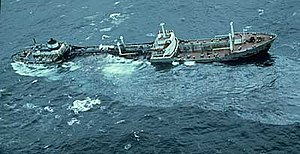 Nantucket Shoals - The oil tanker Argo Merchant aground on Middle Rip, December 15, 1976.