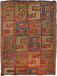 Armenian Pileless Dragon carpet Teltogh (leftover thread weaving),19th century, village of Ktsaberd, province of Dizak, Artsakh, wool, cotton, red warp, 220 x 327 cm, HMA E-11178.jpg