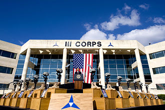 III Corps (United States) - President Barack Obama speaks outside of III Corps headquarters, Fort Hood, Texas