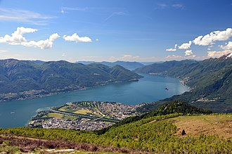 Italy–Switzerland border - View across Lago Maggiore towards Italy, with Ascona in the foreground, Brissago and Cannobio on the right bank and Luino in the background