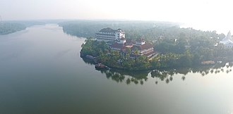 Ashtamudi Lake - An aerial view of the Ashtamudi lake.