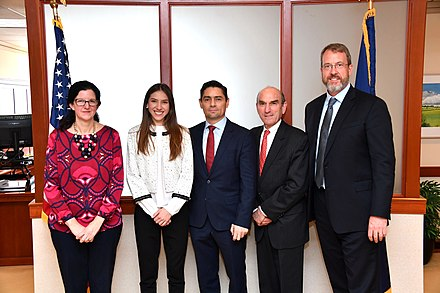 U.S. Assistant Secretary of State Kimberly Breier, Juan Guaido's wife Fabiana Rosales, U.S. Special Representative for Venezuela Elliott Abrams, and Venezuelan Ambassador to the U.S. Carlos Vecchio, and diplomat in Washington, D.C. on 27 March 2019 Assistant Secretary Breier and Special Representative Abrams Meets With With Fabiana Rosales, Wife of Interim President Guaido (40515595993).jpg