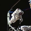 Astronauts Thornton and Akers during STS-61 Spacewalk (28051113551).jpg