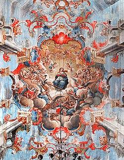 Mestre Ata�de: Nossa Senhora cercada de anjos m�sicos, no teto da igreja de S�o Francisco de Assis, Ouro Preto