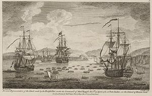 James Inglis Hamilton - The British fleet attacks and captures Belle Île in 1761.