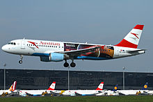 Austrian Airlines Airbus A320 (OE-LBS) in Eurovision 2015 livery landing at Vienna International Airport.jpeg