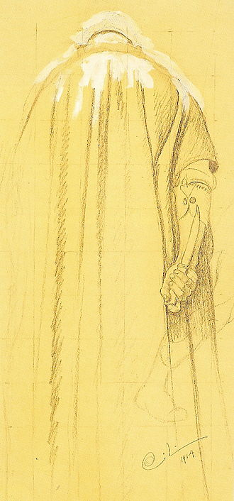 Norse funeral - Sketch of the executioner during a pagan Norse sacrifice by Carl Larsson, for Midvinterblot.