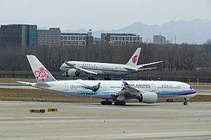Competition between Airbus and Boeing - The Boeing 787 compete with the Airbus A350 (both pictured) and the Airbus A330neo