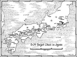 Black and white map of Honshu, Kyushu and Shikoku with cities which were attacked by B-29 bombers as described in the article marked