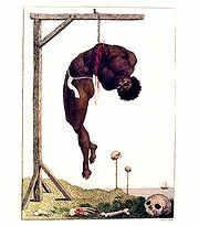 """Blake's """"A Negro Hung Alive by the Ribs to a Gallows"""", an illustration to J. G. Stedman's Narrative, of a Five Years' Expedition, against the Revolted Negroes of Surinam (1796)."""