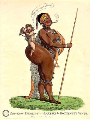 A caricature of Saartjie Baartman, called the ...