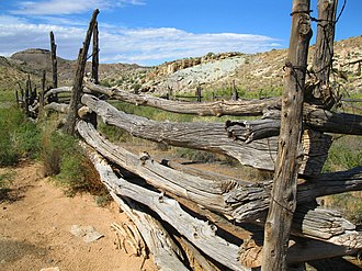 Wolfe Ranch - Image: Back Fence of the Wolfe Ranch Homestead in Arches National Park