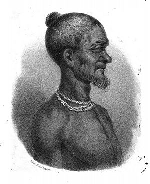Ahanta people - Drawing of Badu Bonsu II made by a Dutch lieutenant, 1838