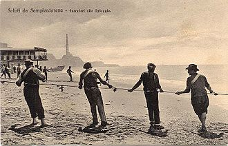 Sampierdarena - Old postcard of the beach