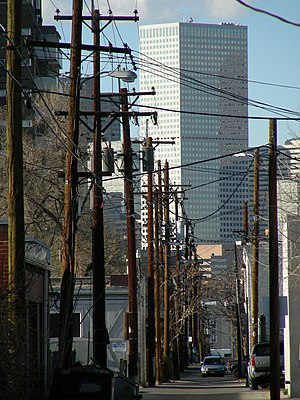 Baker, Denver - Looking north toward downtown from an alley in the Baker Neighborhood