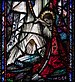 Ballinasloe St. Michael's Church South Aisle Fourth Window Our Lady of Lourdes and Saint Grellan by William Earley Detail Saint Bernadette at the Foot of Our Lady of Lourdes 2010 09 15.jpg