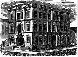 "Baltimore City College - Print of the Central High School of Baltimore (later Baltimore City College), c.1869, old ""Assembly-Rooms"" building of the old Baltimore Dancing Assembly, built 1797 (third floor added 1835), on northeast corner of Holliday and East Fayette Streets, occupied 1843–1873"
