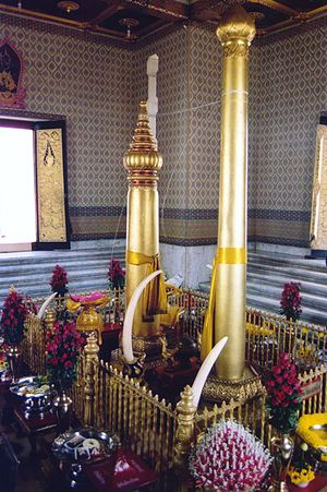 Lak Mueang - Inside the Bangkok city pillar shrine. The taller pillar is Rama I's original, the shorter was added by King Mongkut (Rama IV)