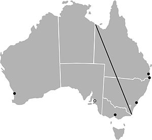 "Barassi Line - The ""Barassi Line"", as proposed by Ian Turner in 1978. The line divides the regions where Australian rules football (southwest) and rugby league (northeast) are the most popular football codes. Dots mark the locations of cities with at least one club that deviates from the Barassi Line; hollow dots mark the locations of cities that formerly had a club."