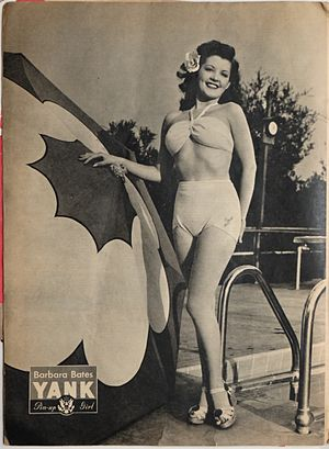 Barbara Bates - Image: Barbara Bates pin up from Yank, The Army Weekly, May 4, 1945