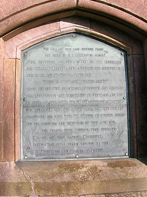 Wallace's Monument, Ayrshire - Plaque with heroic inscription