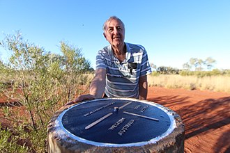 Surveyor Generals Corner - Surveyor Barry Allwright, who originally surveyed the corner in 1968, returned to Surveyor-Generals Corner in June 2018 to replace the plaque.