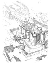The Bastille as part of the Paris city fortifications (Eugène Viollet-le-Duc, 19th century)