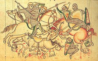 Miniature représentant des chevaliers et fantassins se battant au-dessus de morceaux de corps ensanglantée.