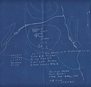 Battle of La Flor - A map of the area showing the graves of American marines killed in the battle.